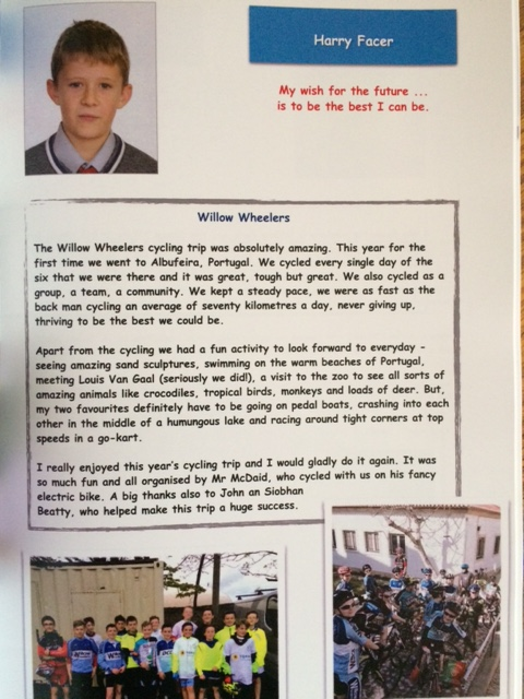 Harry Facer Year Book Extract